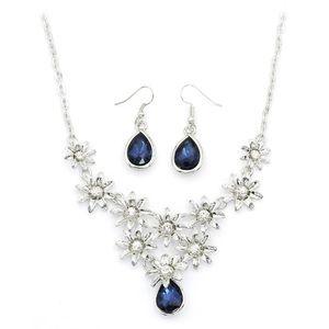 Brilliant flower blue crystal necklace earrings